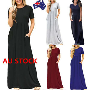 Women-Oversized-Summer-Loose-Short-Sleeve-Soild-Casual-Long-Maxi-Dress-Plus-Size
