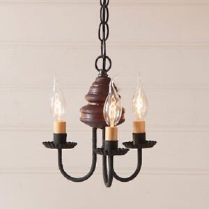 3 candle wood metal chandelier primitive colonial ceiling light la imagen se est cargando 3 velas de madera y metal arana primitivo aloadofball Choice Image