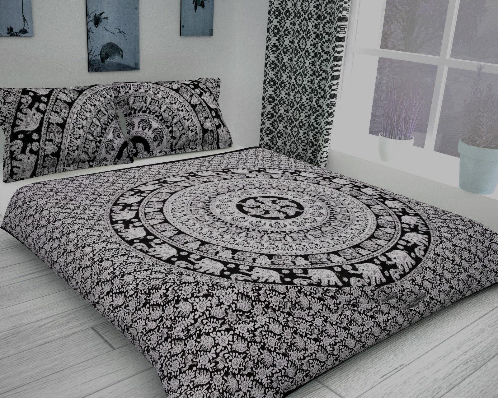 Elefanten-Mandala Bettbezug Hippie Indischen Königin Bettwäsche Baumwolle Boho