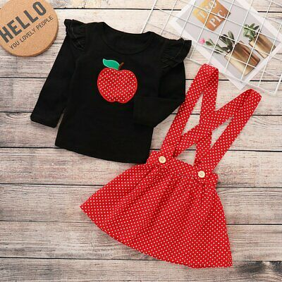 Kids Toddler Baby Girls 2Pcs Clothing Sets Long Sleeve White T-Shirt Tops Red Black Plaids Suspender Skirts Outfits