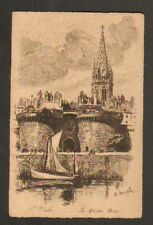 SAINT-MALO (35) VOILIER à la GRANDE PORTE , EAU FORTE de Ch. MAZELIN