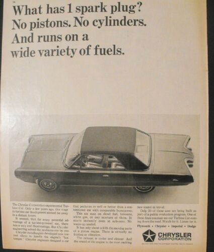 1964 Chrysler Experimental Turbine Car 10 1//2 x 12 3//4 Art Promo Print Trade Ad