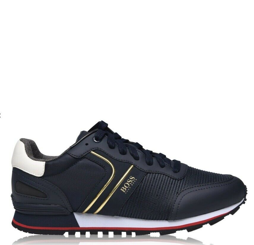 Hugo Boss Parkour Runners Mens Trainers Casual Footwear Sneakers Navy Gold