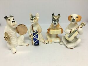 Enchanting!  Quartet of Vintage Bone China Musician Dog Figurines