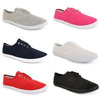 Ladies Women Girls Flat Lace Up Canvas Plimsolls Trainers Sport Pumps Shoes Size