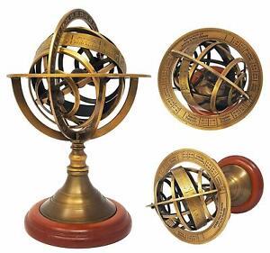 Antique-Armillary-Brass-Desktop-Globe-Sphere-Wooden-Base-Vintage-Astrolabe