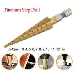 Hex-Shank-Straight-Flute-Titanium-Step-Drill-Bit-3-12-mm-0-12-0-47-in