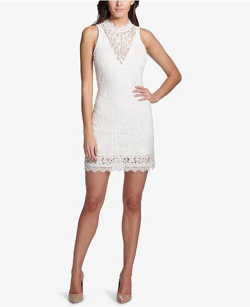 991e3d9347 Kensie Women s White Floral Mock-neck Illusion Lace Mini Dress Size 12 for  sale online