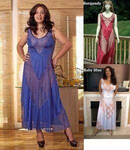 Baby-Blue-Lingerie-Nightgown-Long-Gown-Royal-Large-Plus-Size-1X-2X-3X-4X