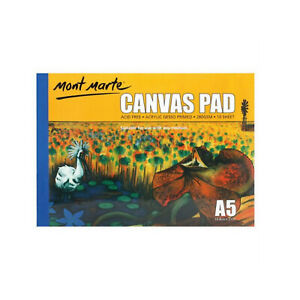 Canvas-Pad-A5-White-10-Sheets-Mont-Marte-Paper-Atrist-Painting-Art-Supply