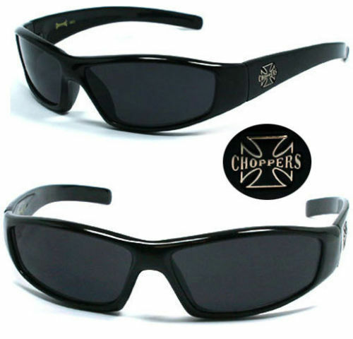 Choppers Bikers Mens Sunglasses Glossy Black Frame Super Dark Cat 4 Lens C29
