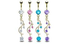 4 lot GOLD Plated LONG Gem DANGLE BELLY Button NAVEL RINGS Body Piercing Jewelry