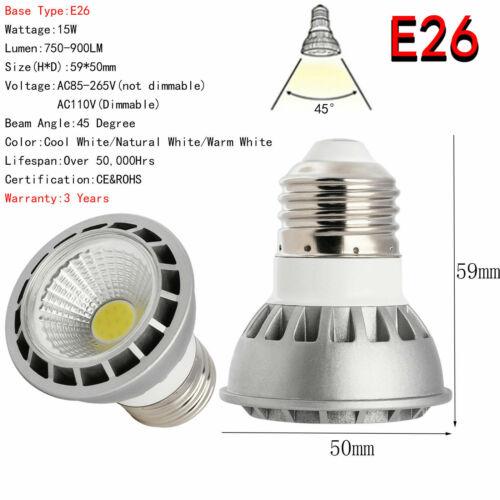 Ultra Bright 110V 220VDimmable E27 E26 GU10 MR16 15W LEDCOB Spotlight Bulbs Lamp