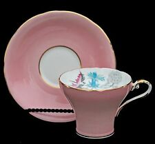 Aynsley Pink Gold Corset Tea Cup Saucer Teal & Rose Thistles Vintage