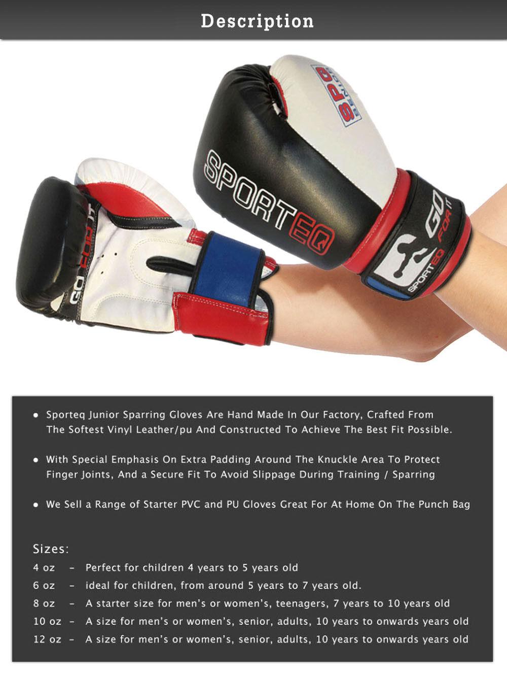 Premium MMA Training Glove  4oz Sporteq Kids Pro Boxing Sparring Gloves 16oz