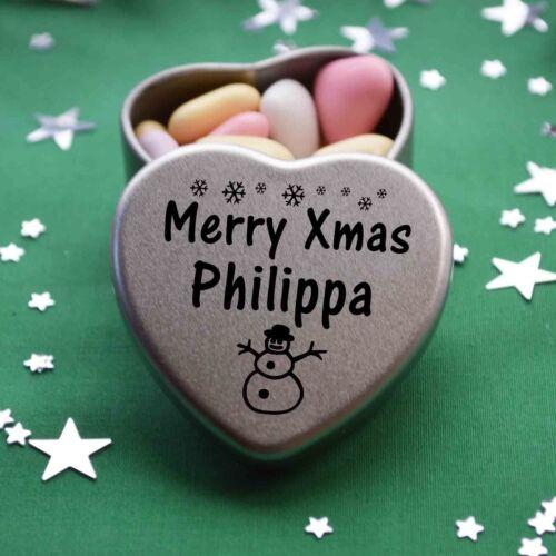 Merry Xmas Philippa Mini Heart Tin Gift Present Happy Christmas Stocking Filler