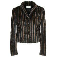 VALENTINO ROMA striped goat fur coat brown goatskin blazer jacket 44-IT/8-US NEW
