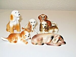 Vintage Lot of 6 Porcelain Dog Collectible Figurine Japan