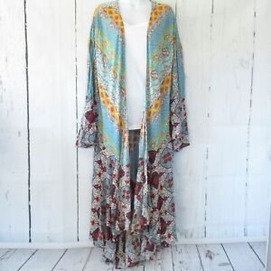 New-Umgee-Kimono-Cardigan-XL-X-Large-Boho-Mixed-Print-Duster-Ruffle-Plus-Size