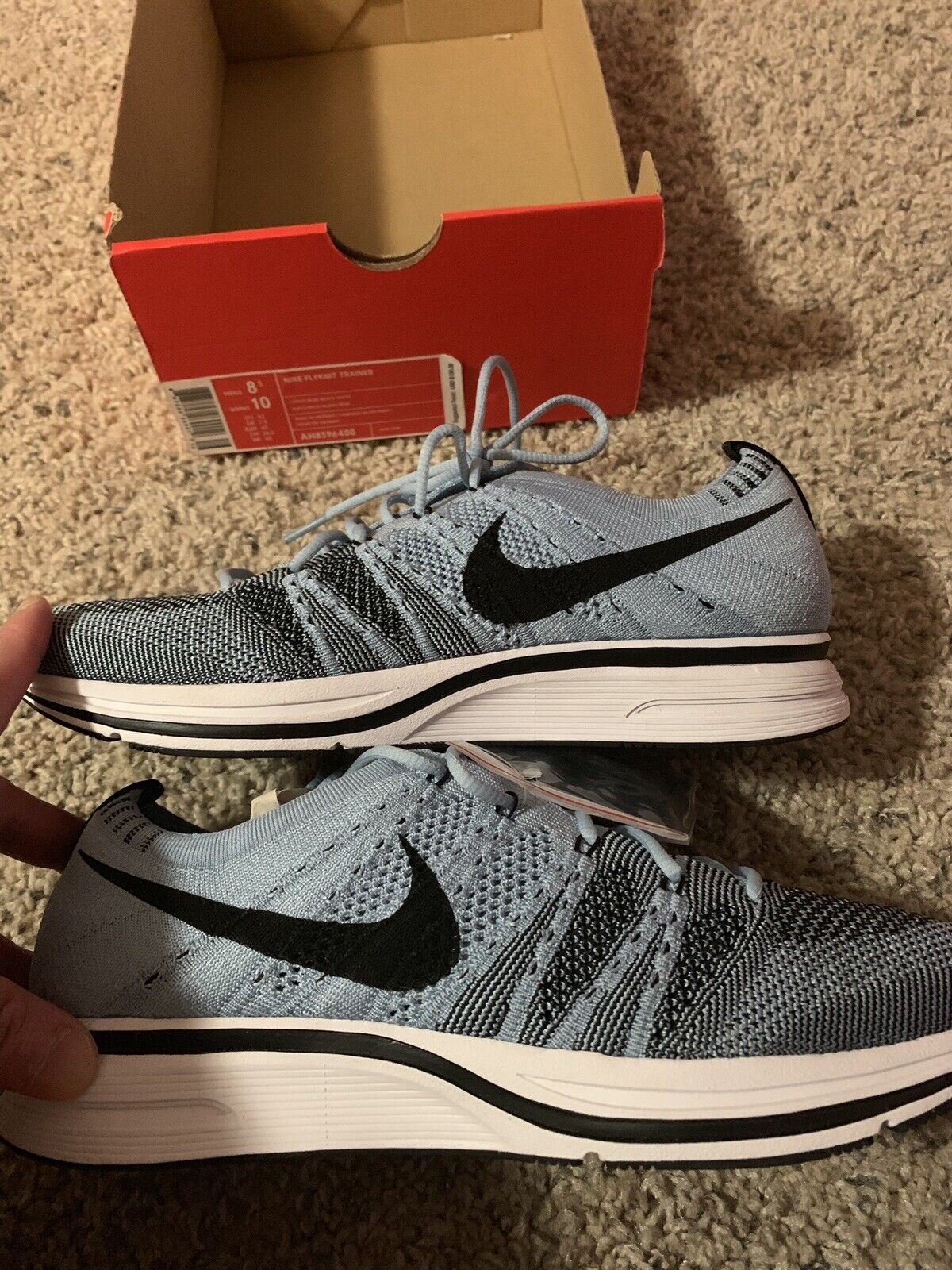 2017 NIKE FLYKNIT TRAINER SHOES CIRRUS blueE BLACK AH8396-400 MEN'S SIZE 8.5 NEW