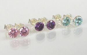 925-Echt-Silber-3-PAAR-Zirkonia-Ohrstecker-pink-lila-blau-2-3-4-5-mm