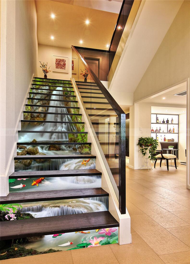 3D Fluss Bach 431 Stair Risers Dekoration Fototapete Vinyl Aufkleber Tapete DE