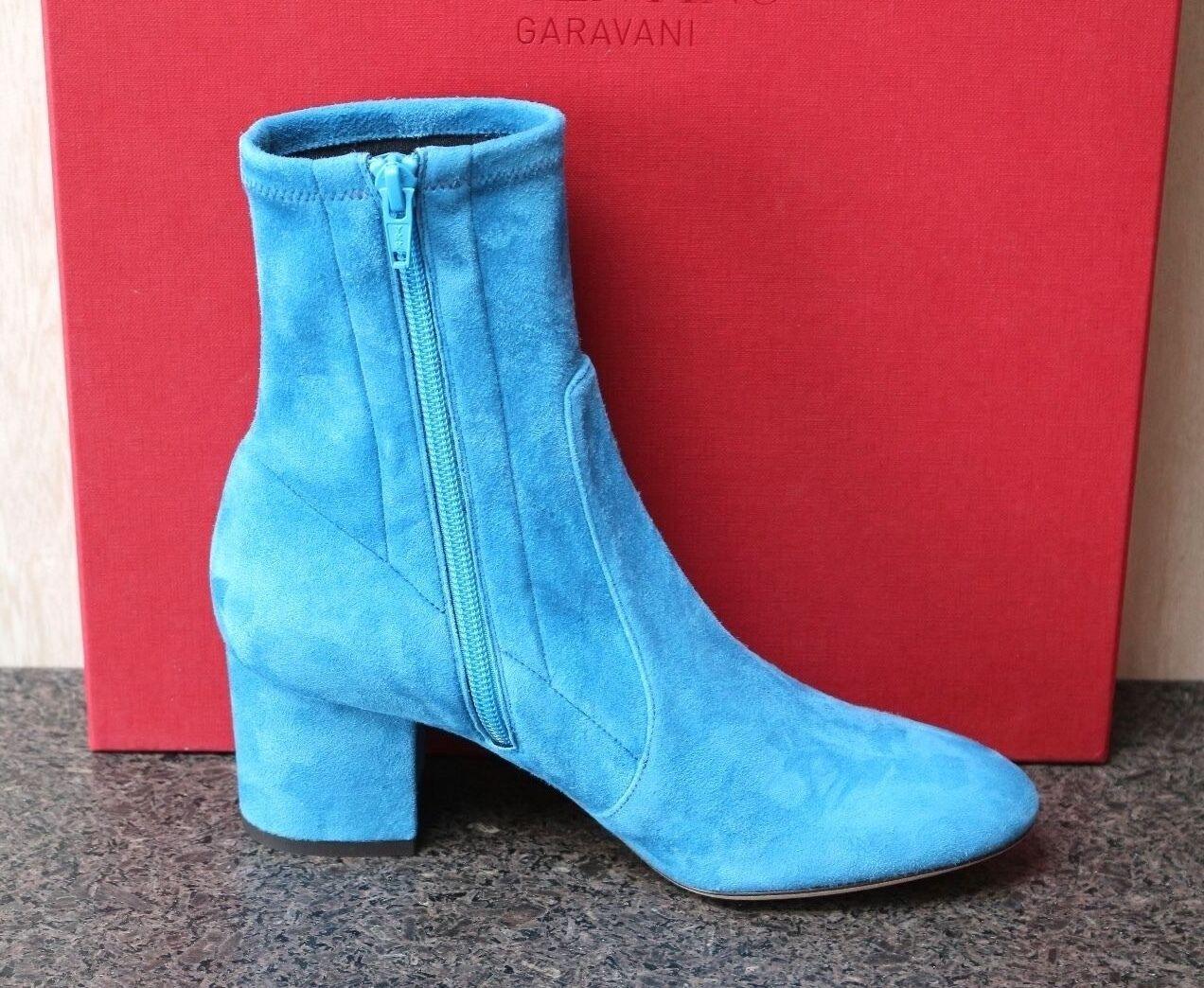 NIB VALENTINO GARAVANI LIGHT bleu SUEDE MOD ZIPPER ANKLE démarrageIES bottes 36.5
