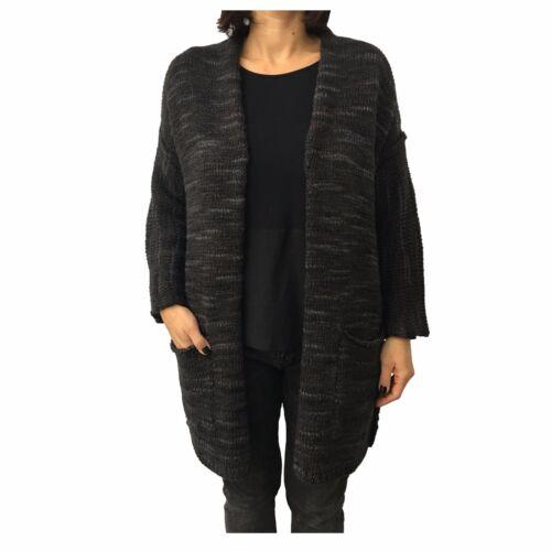 dark 8pm Cardigan Made Anine Brown Wool black Italy Woman In Grey Lurex Mod xRXwFrRdq