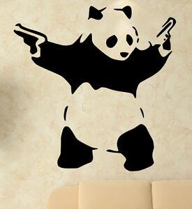 Image Is Loading Banksy Graffiti Panda With Guns Art Amazing Wall