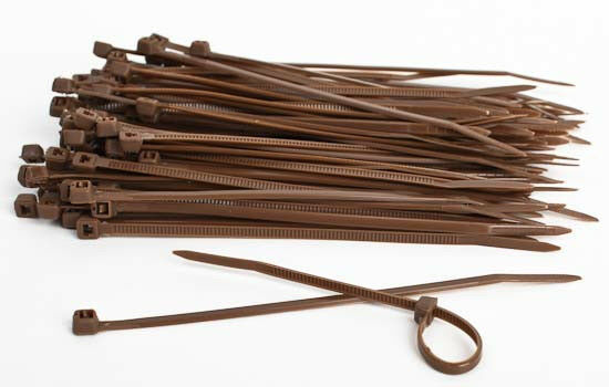 Brown Cable Ties 100mm x 2.5mm - Pack of 25