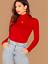 Red-Bright-Long-Sleeves-Turtleneck-Slim-Fit-Elegant-T-Shirt-Top-Sz-XS-S-M-L miniature 1