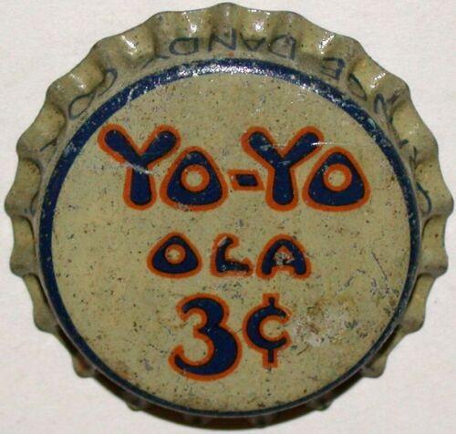 Vintage soda pop bottle cap YO YO OLA 3 cents cork lined unused new old stock