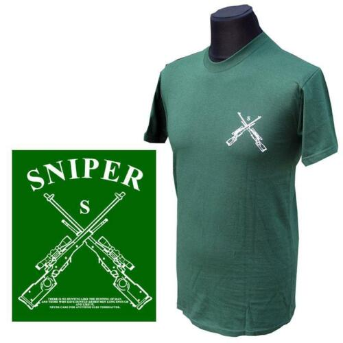 """BRITISH ARMY SNIPERS BOTTLE GREEN T-TSHIRT /""""SNIPER/"""" SIZES S-XL"""