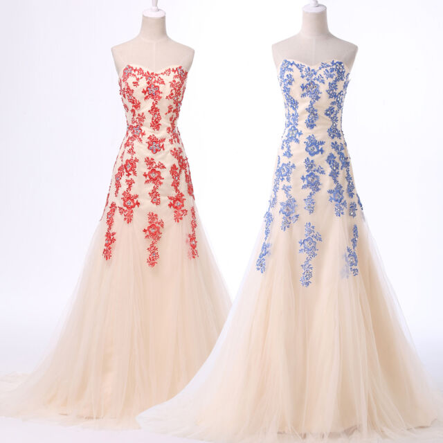 APPLIQUE Mermaid Formal / Evening Long Gowns Party Prom Bridesmaids Ball Dresses