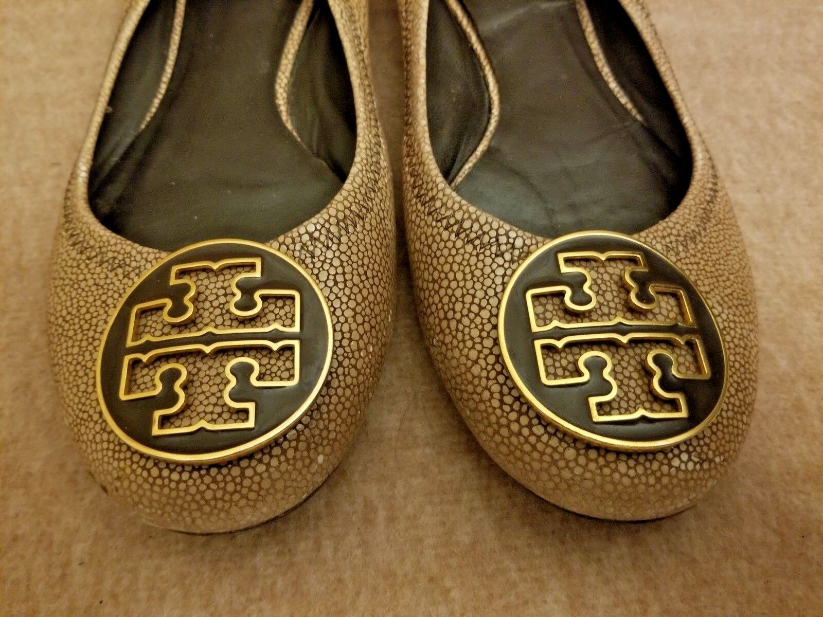Tory Burch Women Reva Leather Tumbled Brown Big Logo Ballet Flats shoes Size 7 M