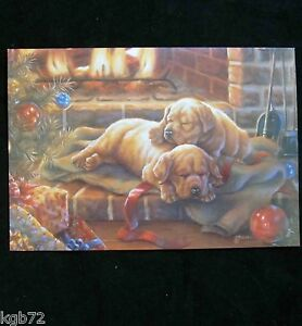 Leanin tree christmas greeting card puppies by fireplace multi color image is loading leanin tree christmas greeting card puppies by fireplace m4hsunfo