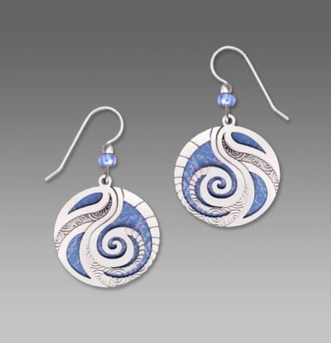 Adajio Earrings Periwinkle Disc Silver Swirl Filigree /& Spiral Handmade in USA