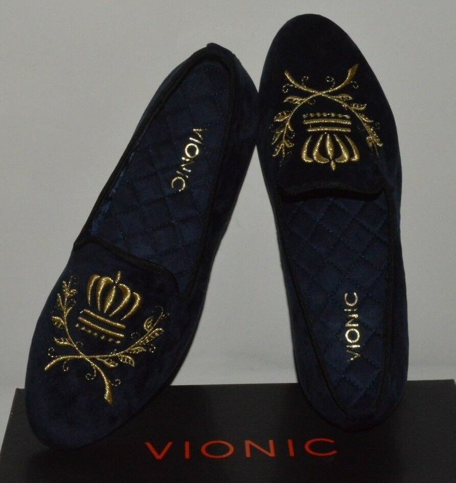 Vionic Women's 366 Romi Snug Navy Suede Loafers Slip on Shoes US 7.5 New