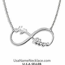 Custom Infinity Necklace With 2 Names In Sterling Silver 925 . Fashion Necklaces