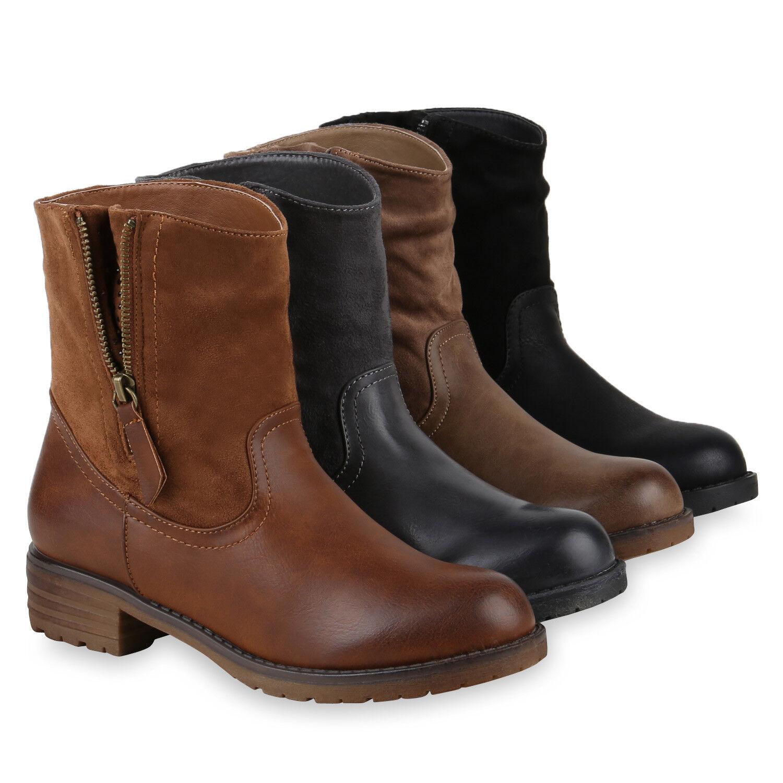 Damen Biker Boots Strass Stiefeletten Gefütterte Zipper 812160 Schuhe