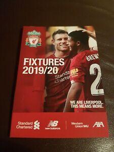 Very Rare Liverpool Fc 19 20 Fixture List Spurs Crystal Palace Football Club Ebay