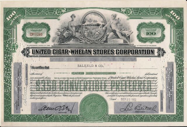 Stock certificate United Cigar-Whelan Stores Corp. 100 Shares 1952