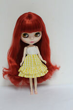 "12"" Takara Neo Blythe Dolls From Factory Nude Dolls Wine Red Long Curly Hair 56k"