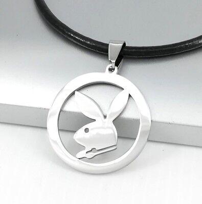 Flight Tracker Silber Playboy Hase Kaninchen Tiere Edelstahl Anhänger Schwarz Leder Halskette
