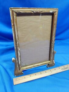 Antique-Wood-Picture-Frame-Gold-Paint-Art-Deco-Glass-Stand-Up-Vanity-Dresser