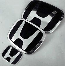 3 Set Black JDM Honda Civic Front+Rear+steering wheel Emblem 06-15 Sedan Si Dx