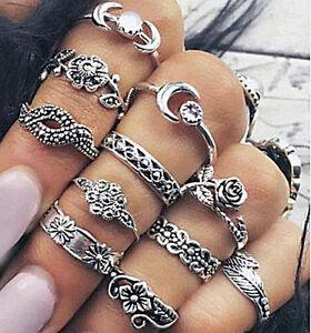 11pcs-Silver-Boho-Bohemian-Vintage-Women-039-s-Mid-Finger-Knuckle-Rings-Set
