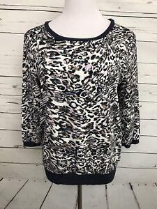 c721e49e432 JLO Jennifer Lopez Medium Women's Top Animal Print Blouse 3/4 ...