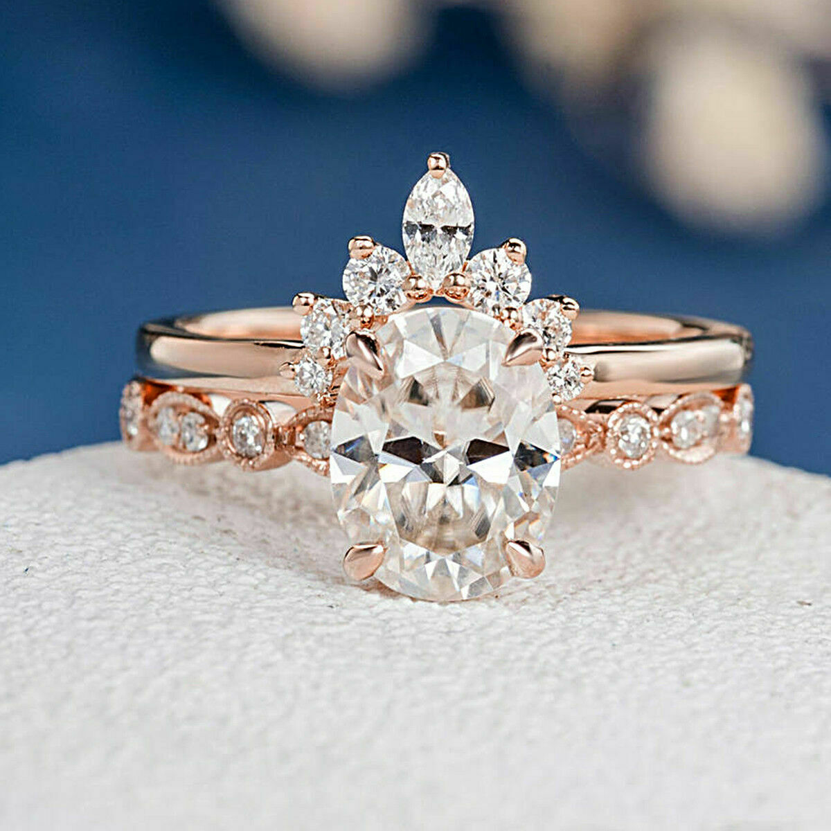 Oval Cut Diamond 2.30 CT Engagement Wedding Ring Set Solid 14k pink gold