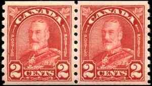 Canada-181-mint-VF-OG-H-1930-King-George-V-2c-deep-red-Arch-Leaf-Coil-Pair